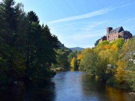 Wasser, Natur, Fluss, Landschaft, See, Baum, Schloss, Palast