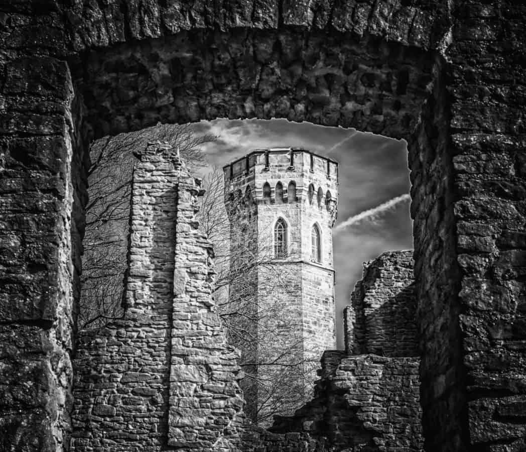dvorac, bedem, srednjovjekovni, jednobojne, arhitektura, stari, kameni, stari