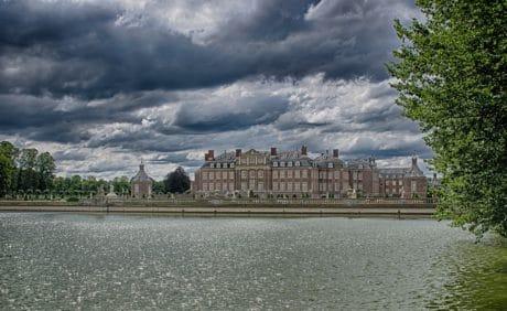 rivière, architecture, eau, château, ciel, ville, urbain, nuage, plein air