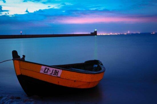 eau, embarcation, crépuscule, mer, coucher de soleil, aube, bateau, océan, plage