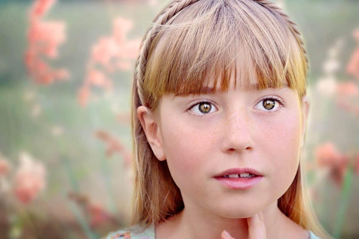 naturaleza, retrato magnífico, cabello rubio, cara, Linda, niño, sonrisa, persona
