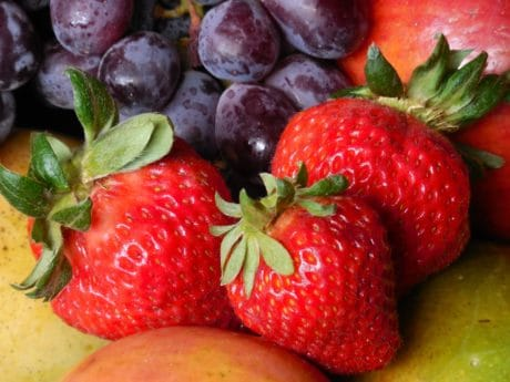 food, strawberry, blue plum, fruit, berry, delicious, sweet, dessert