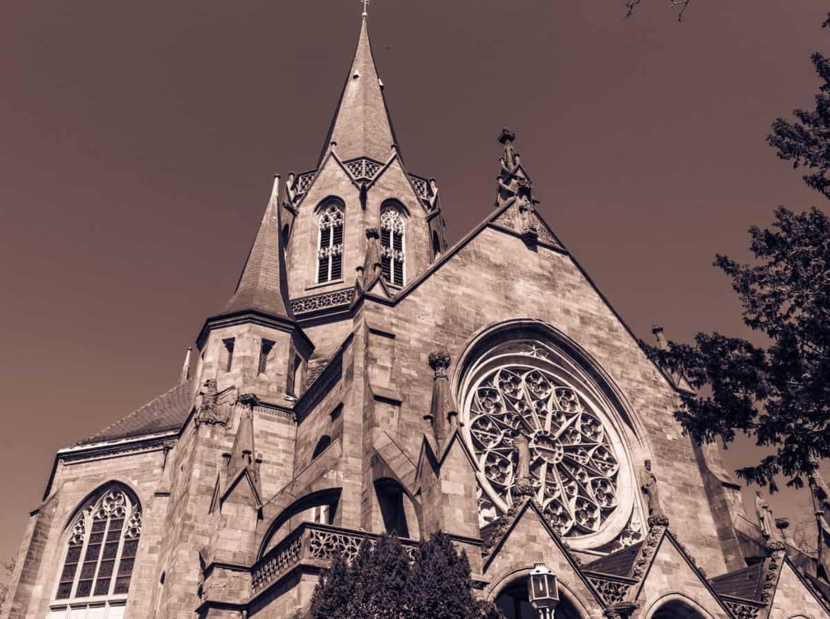 starý, katolický kostel, katedrála, město, starověké, monochromatický, náboženství, architektury