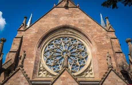 religious, city, cathedral, catholic church, religion, architecture, window, sky