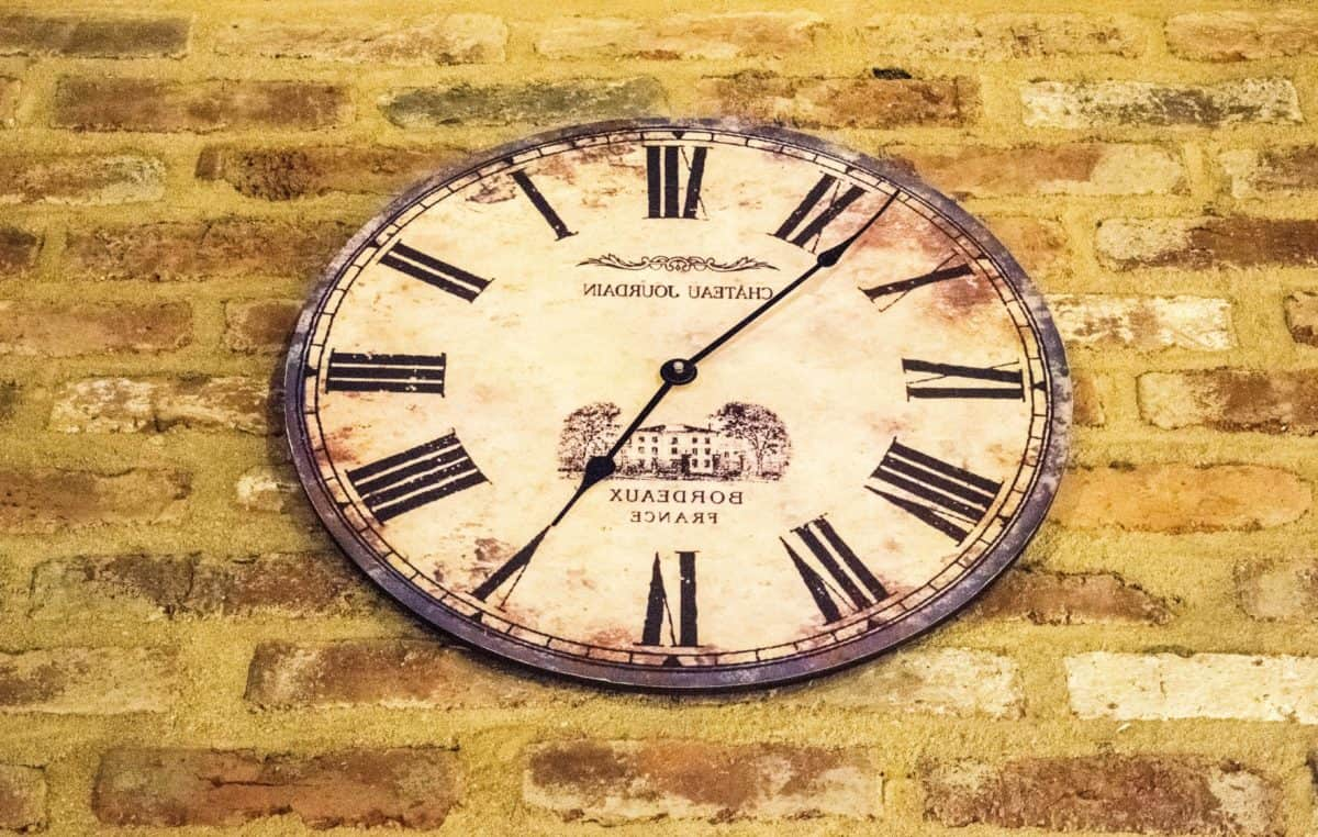 clock, old, minute, antique, retro, time, brick wall