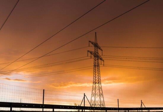 coucher du soleil, industrie, tension, fil, ciel, énergie, tour, électricité