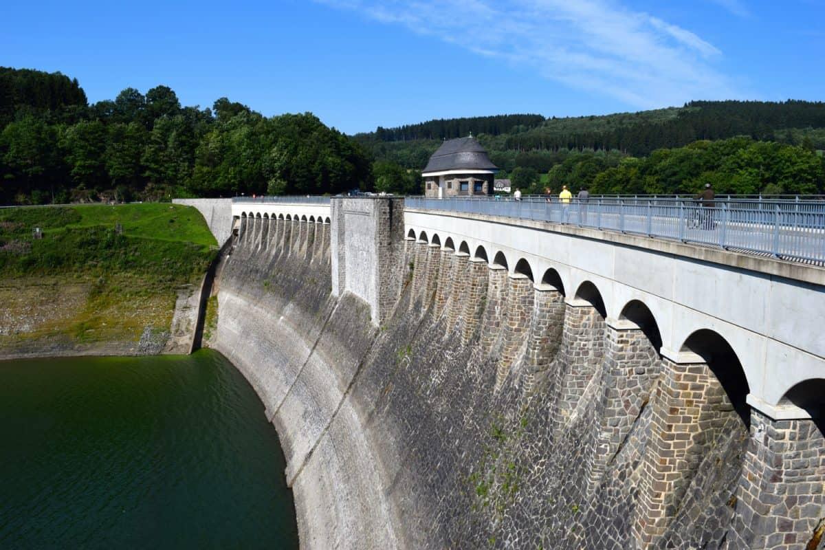 bridge, construction, dam, concrete, river, water, structure, sky