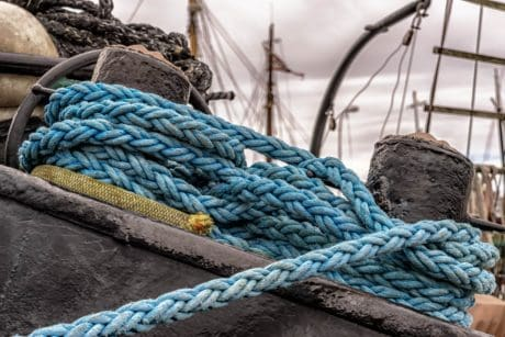 knot, rope, object, blue, ship, coast