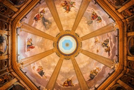 church, ceiling, inside, religion, art, architecture, roof