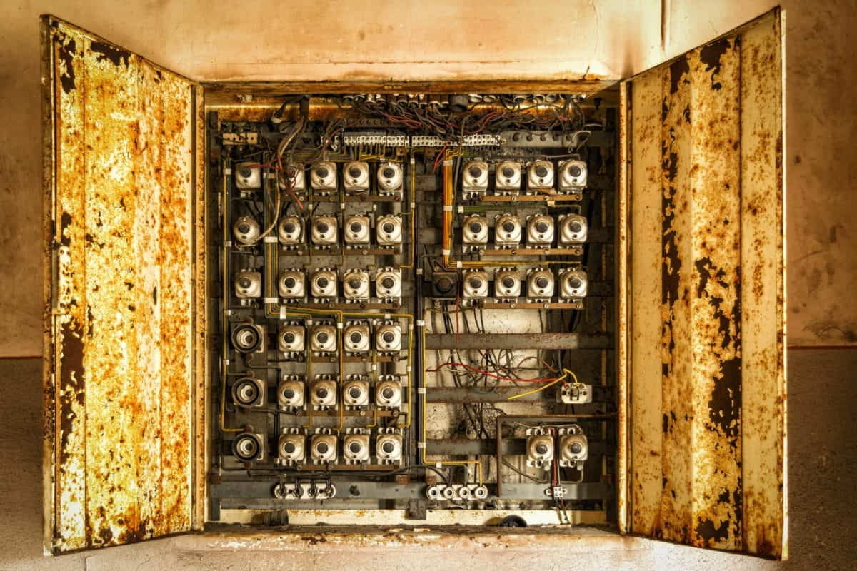 old, box, electricity, cable, switch, voltage, fuse