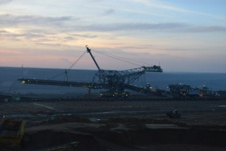 excavator, machine, metal, construction, energy, dusk