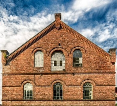 house, old, architecture, brick, blue sky, window