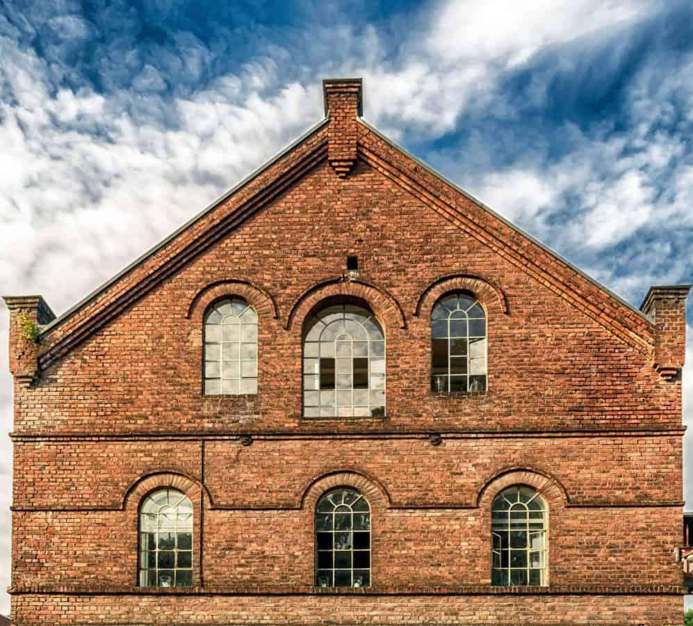 maison, ancienne, architecture, brique, bleu ciel, fenêtre