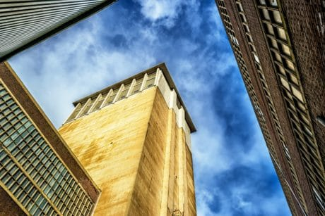 blue sky, architecture, structure, city, tower, outdoor, urban, facade