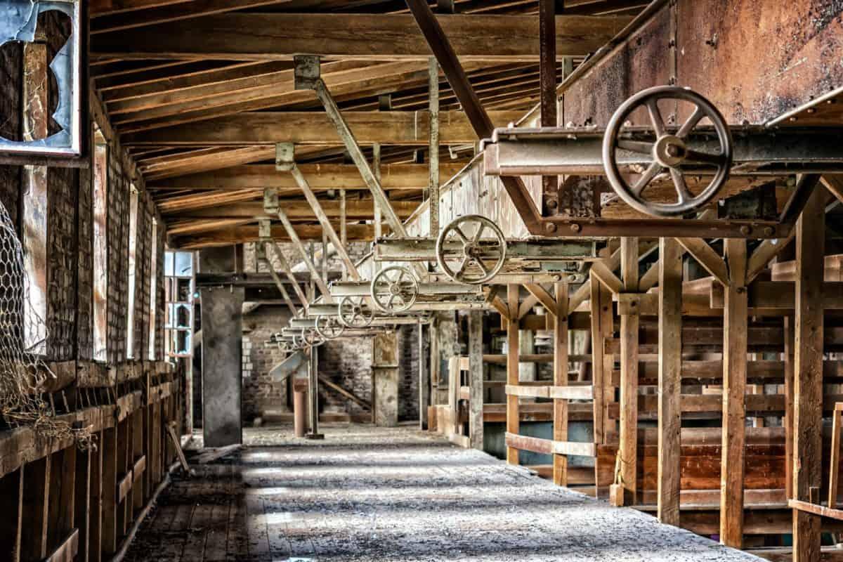 usine, métal, intérieur, construction, travail, industrie