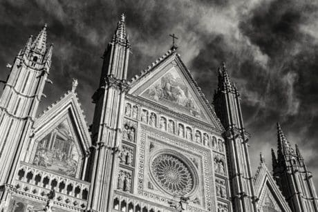 monochrome, architecture, facade, cathedral, catholic church, tower, landmark