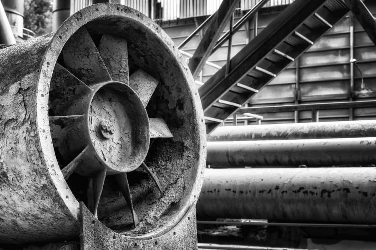acier, fer, monochrome, ancienne, industrie, rouille, ventilateur