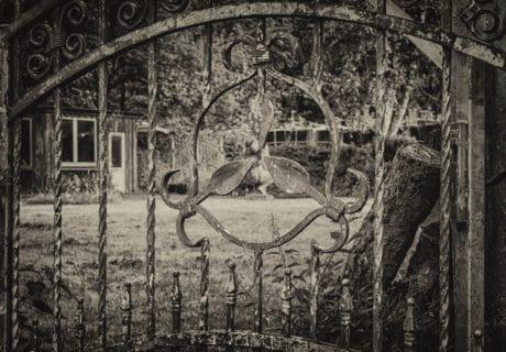 ferro, oggetto, recinzione, metallo, bianco e nero, in acciaio, natura