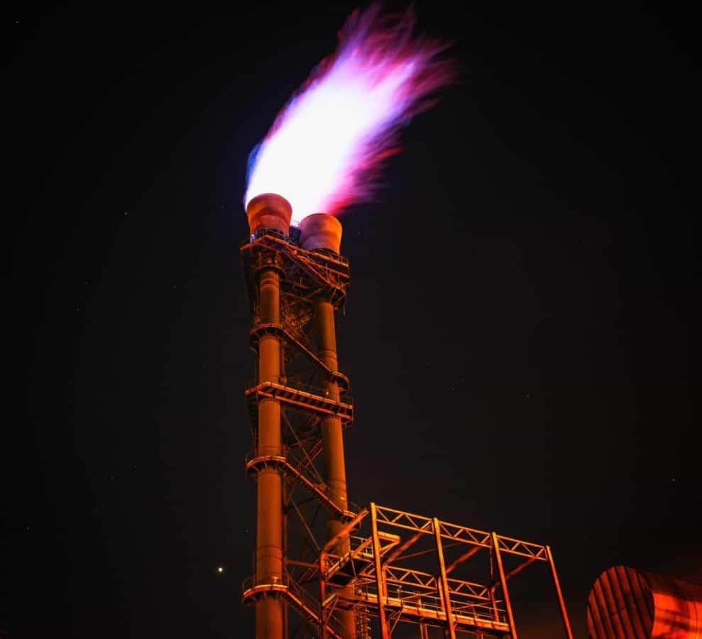 fábrica, llama, chimenea, industria, metal, cielo, noche