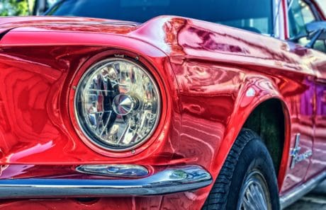 automóvil, vehículo, coche, cromo, coche clásico, linterna, rojo