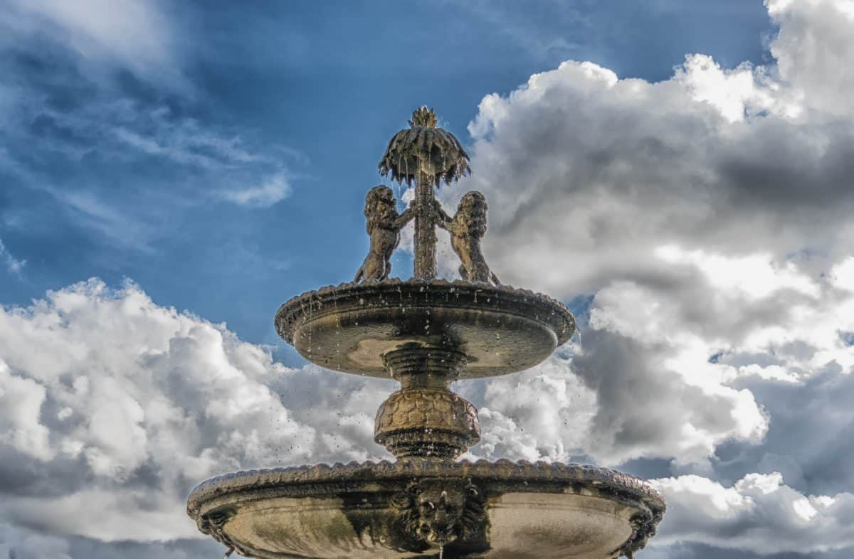 blue sky, structure, fountain, architecture, outdoor, famous