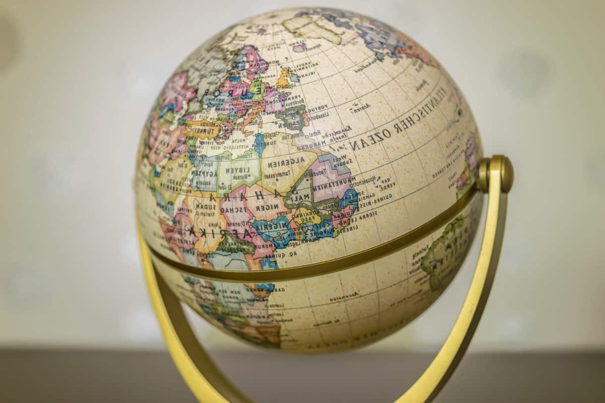 Geografia, mappa, terra, globo, oggetto, educazione, topologia