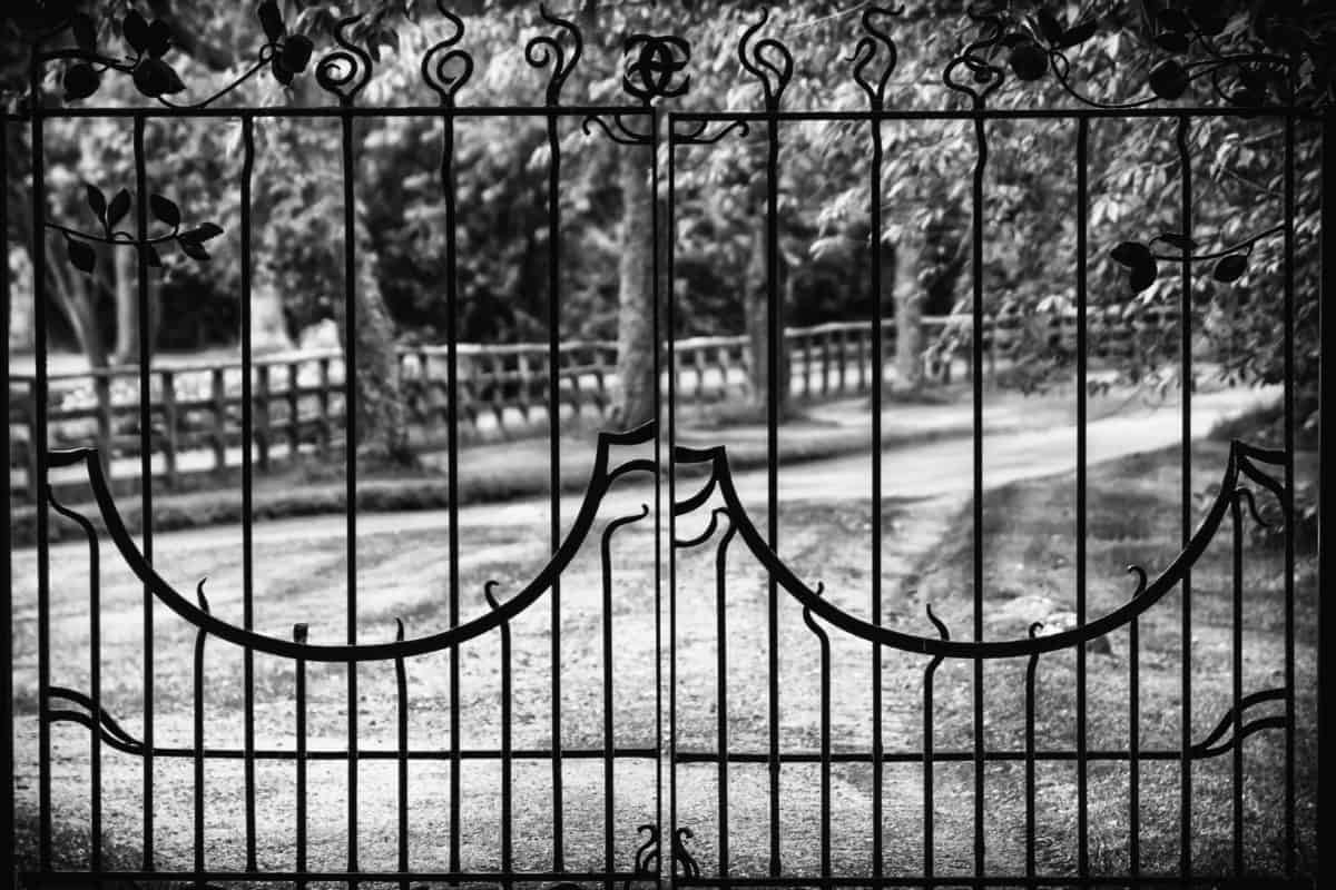 iron, fence, cage, gate, structure, monochrome, exterior