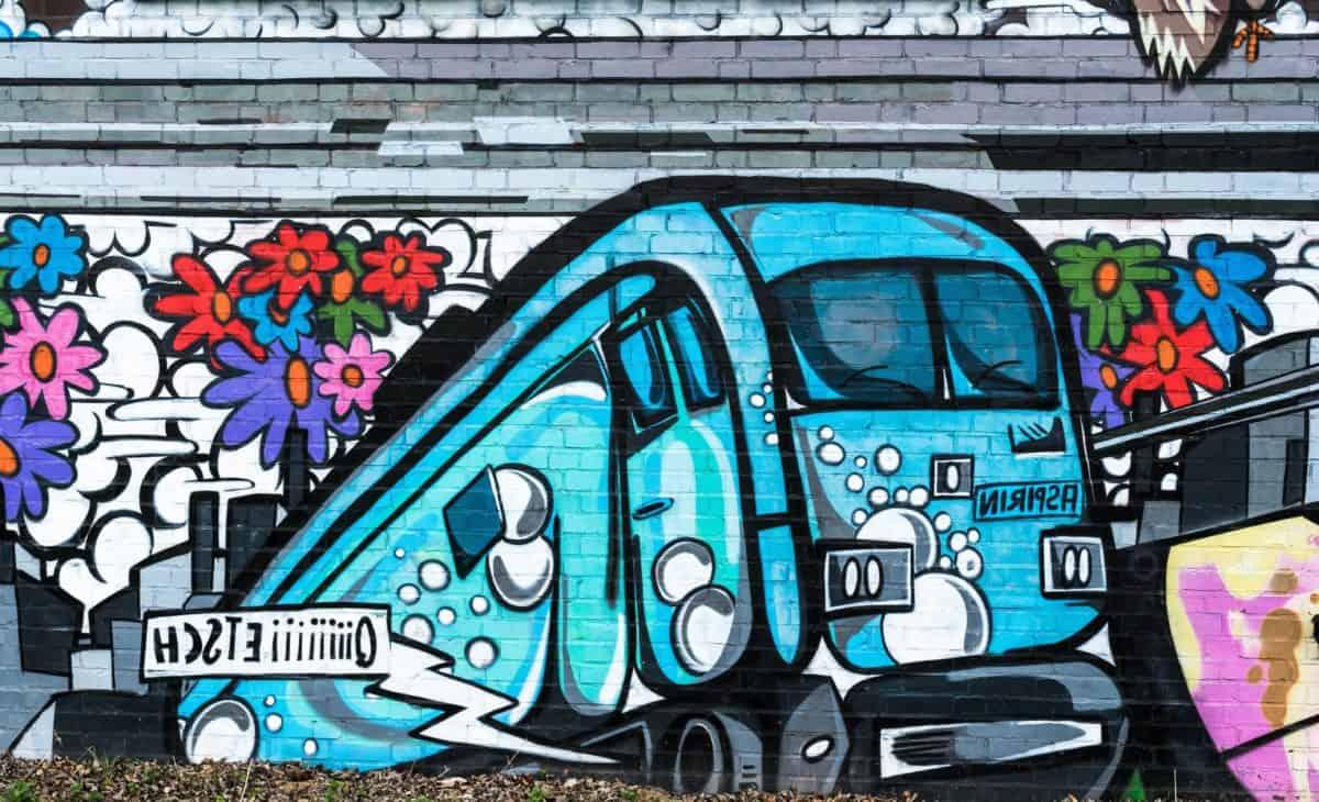 strada, graffiti, arte urbana, colorato, vandalismo, veicolo, trasporto