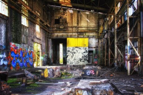 graffiti, factory, architecture, old, warehouse, building