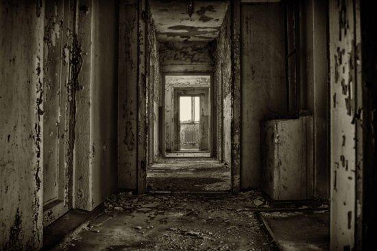 dunkel, alten, verlassenen, Schatten, Dunkelheit, Tür, Tür, Architektur