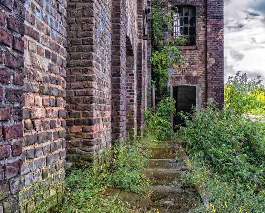 vecchio, casa, finestra, architettura, mattone, parete, pianta