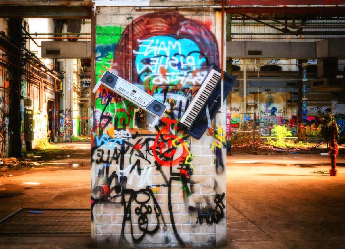 città, strada, urbani, graffiti, strumento musicale, colorato