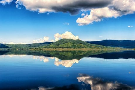 reflection, water, landscape, nature, blue sky, lake, outdoor, daylight, mountain