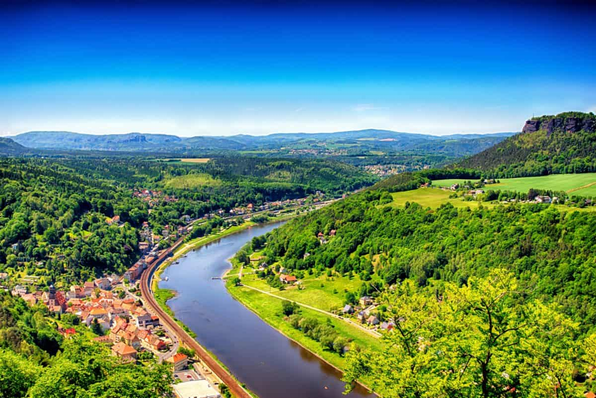 river, blue sky, panorama, hill, landscape, nature, sky, mountain, outdoor