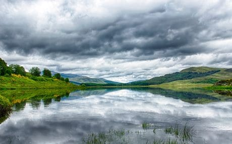 sky, water, landscape, nature, river, cloud, daylight, grass, summer
