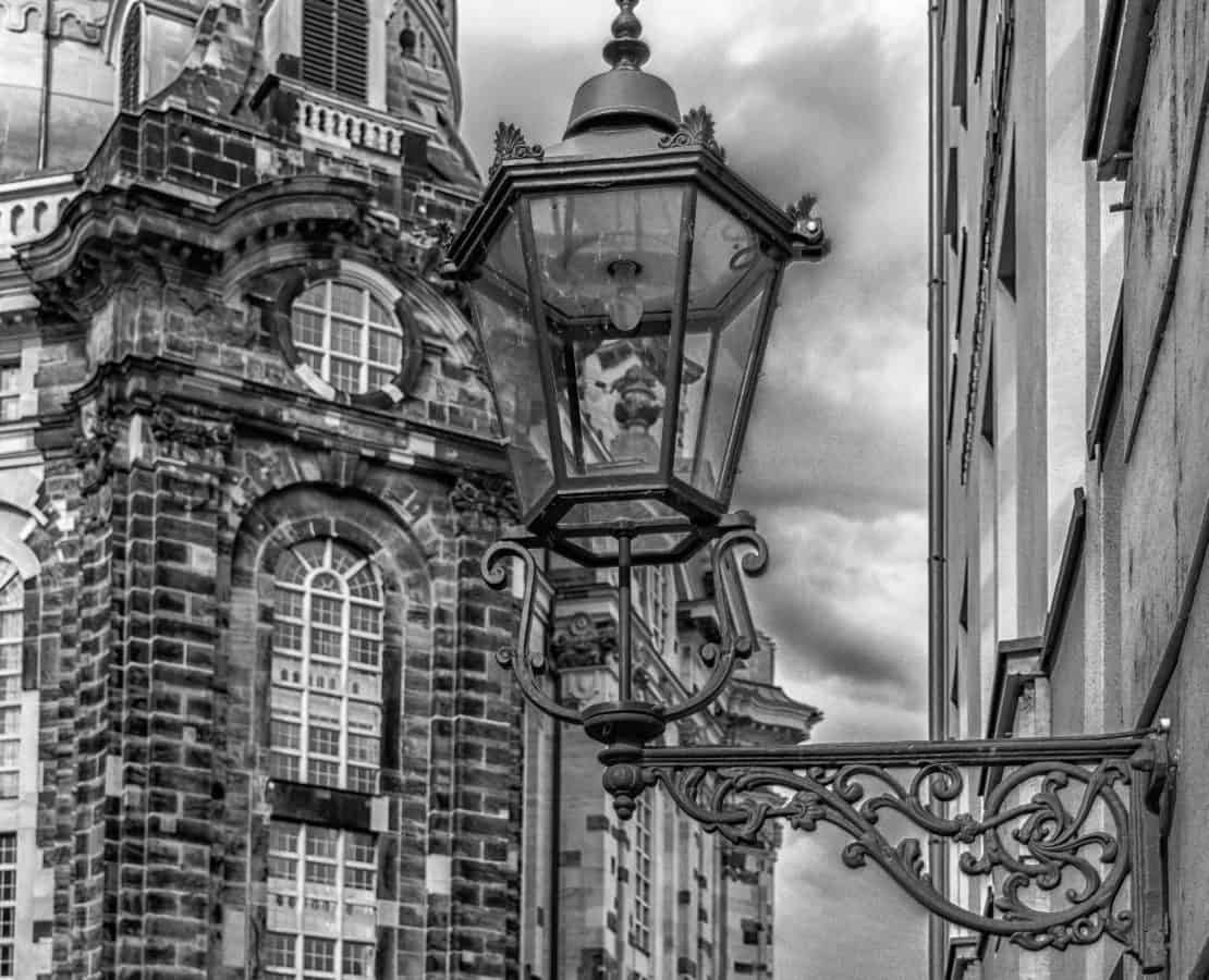 antique, street, architecture, city, town, street lamp, old, monochrome