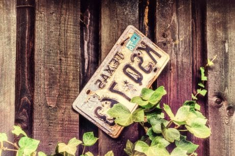 registration plate, wood, old, sign, metal, object