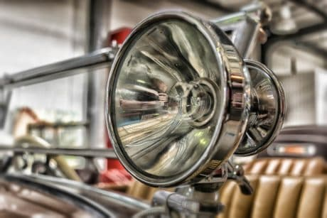 oldtimer, vehicle, car, headlight, lamp, chrome, classic, sedan