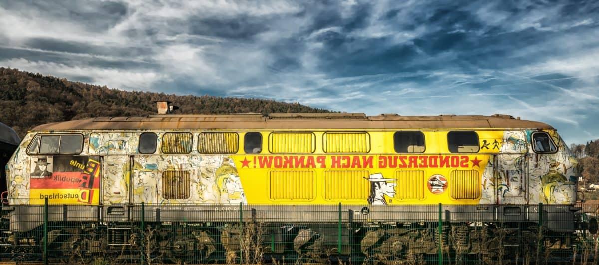locomotora, tren, tren, vehículo, cielo, nube viejo, al aire libre,