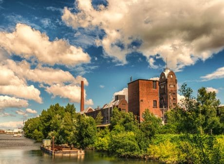 architecture, blue sky, cloud, water, factory, wood, river