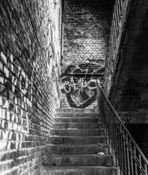staré, zdí, architektura, městská, grafit, cihlovou zeď, město, černobílá
