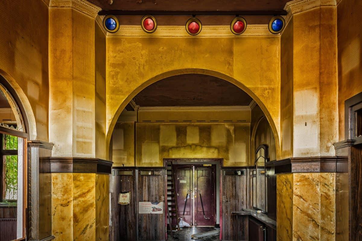 deur, architectuur, interieur, oude, boog, muur, deur, arch