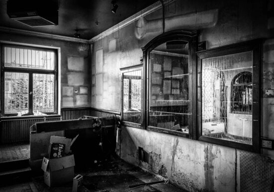 crno-bijeli, soba, prozor, kuća, stara, arhitektura