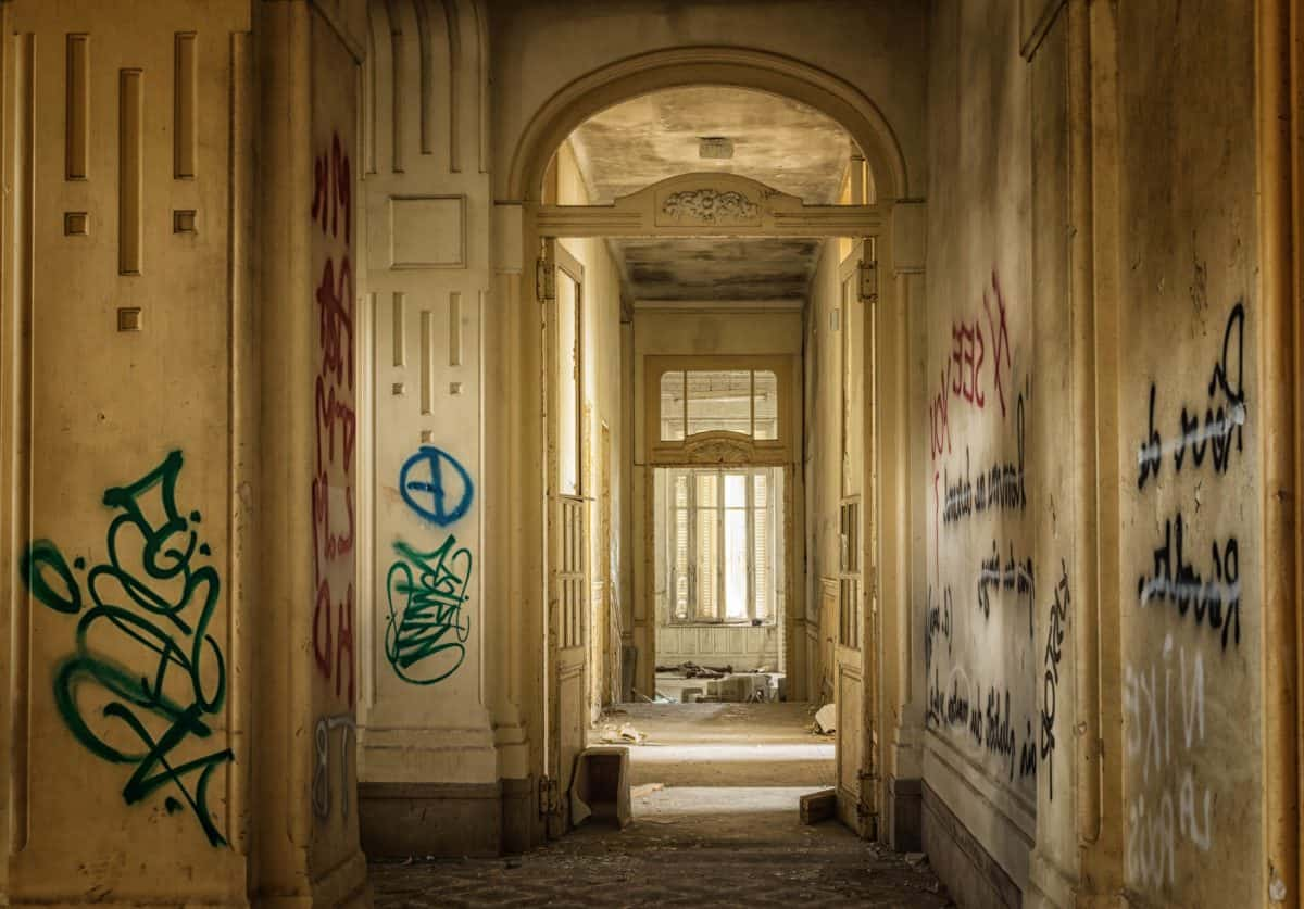porta, arquitetura, velho, grafite, parede, vandalismo