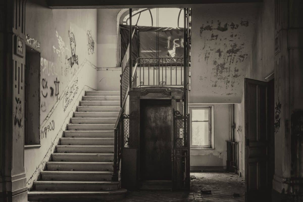 stairs, concrete, steel, city, interior decoration, building, architecture, monochrome