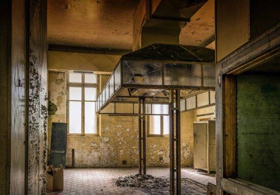 architecture, fenêtre, abandonnée, vieux, ventilation, métal