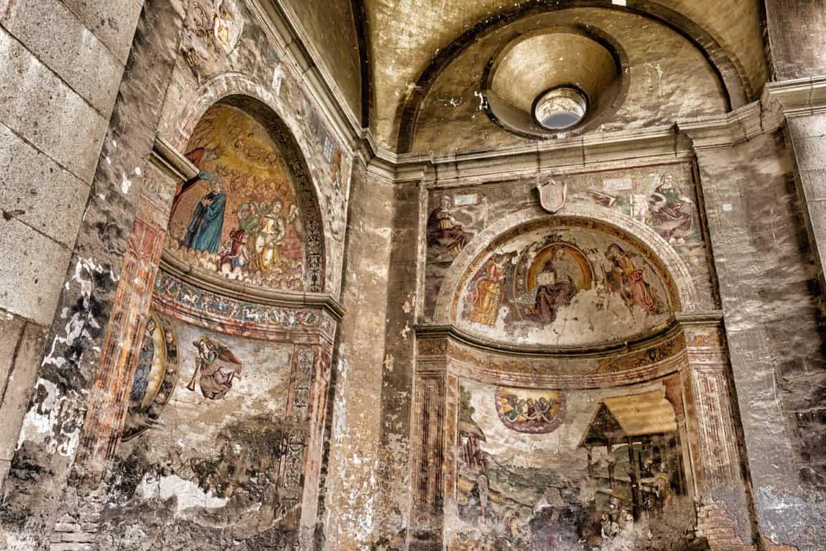 mittelalterliche, Kathedrale, Fresko, Kunst, Interieur, Religion, Kirche, alte, Architektur
