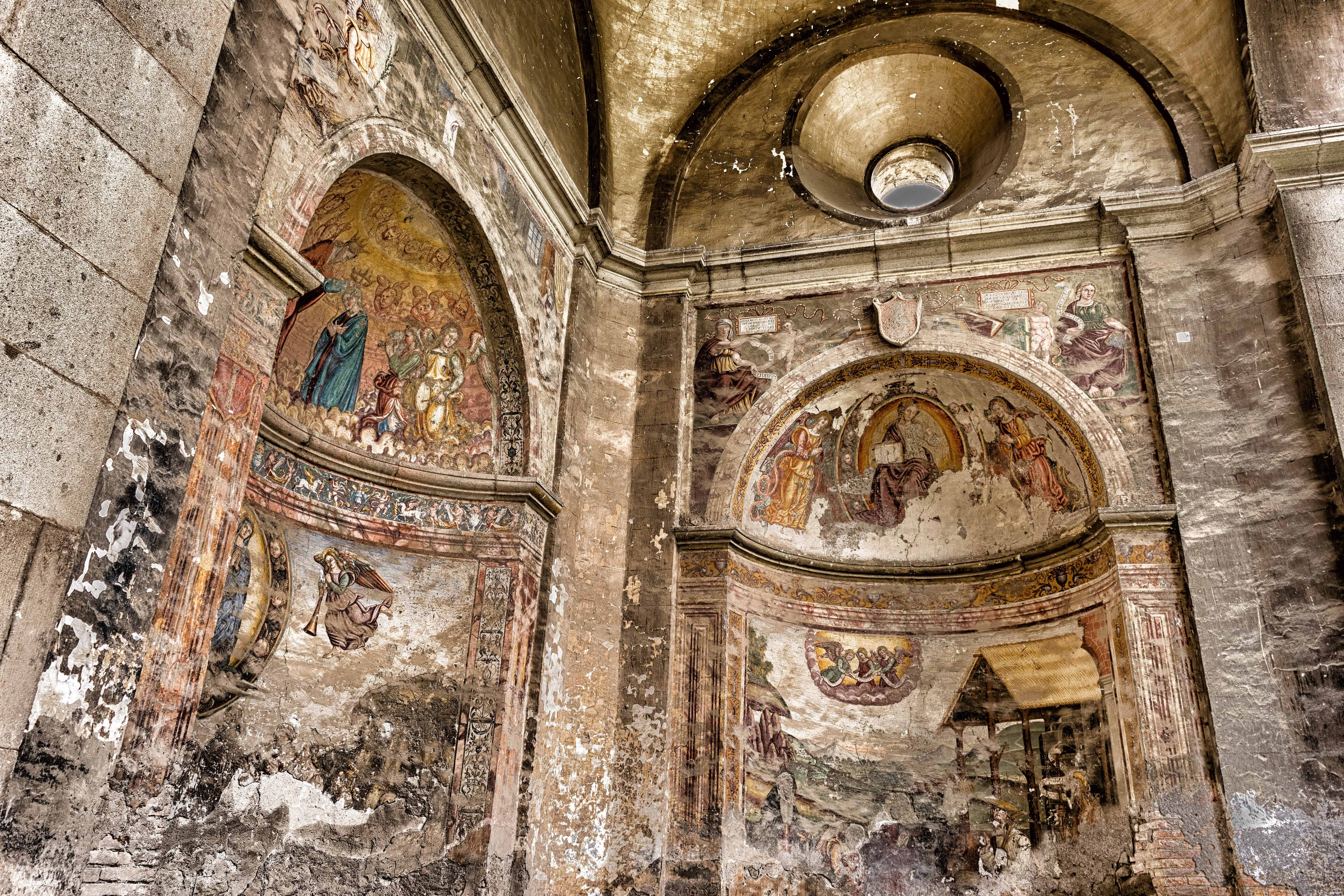 Free Picture Medieval Cathedral Fresco Art Interior