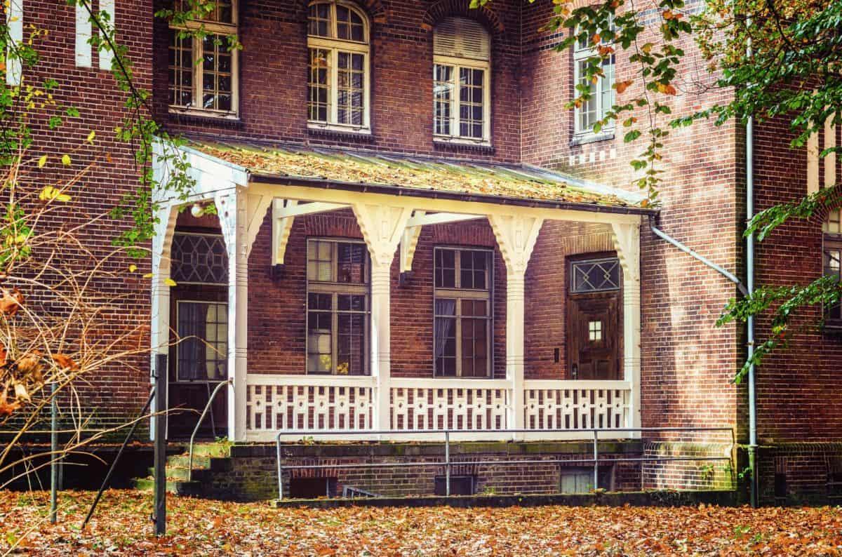 casa, arquitectura, casa, ventana, balcón, pared de ladrillo, al aire libre