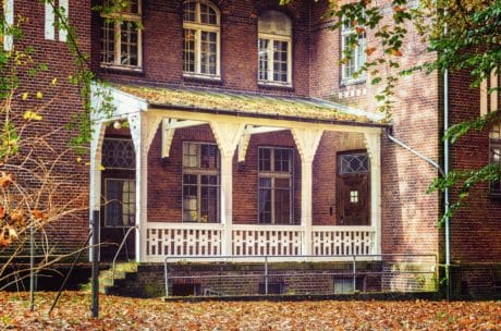 maison, architecture, maison, fenêtre, balcon, mur de briques, en plein air